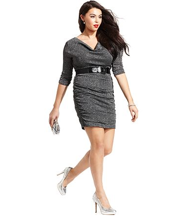 Ruby Rox Plus Size Dress, Three-Quarter-Sleeve Ruched Belted